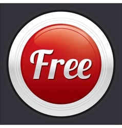 Free button red round sticker vector image
