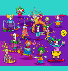 funny circus clowns cartoon characters group vector image
