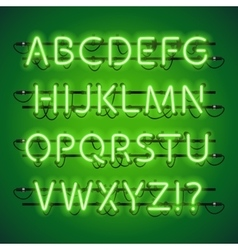 Glowing Neon Lime Green Alphabet vector