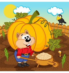Hamster with pumpkin seeds vector