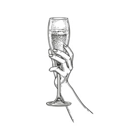 Hand holding a glass of champagne vector