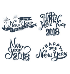 Happy new year 2018 hand lettering vector