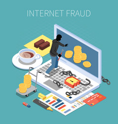 internet fraud isometric composition vector image