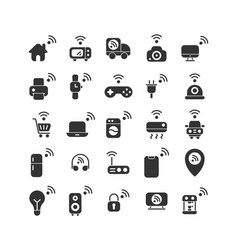 Internet things solid icon set vector
