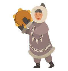 Inuit person with musical instrument sings vector