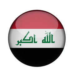 iraq flag in glossy round button of icon iraq vector image
