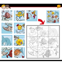 jigsaw puzzles with fish vector image