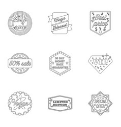Label set icons in outline style big collection vector