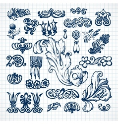 Leaves sketch set vector