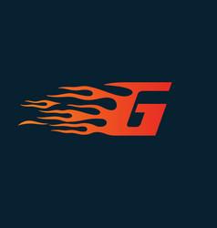 Letter g flame logo speed logo design concept vector