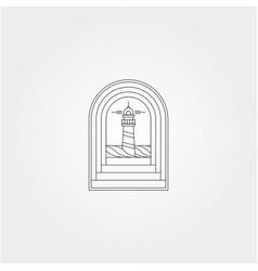 Lighthouse view in door symbol design vector