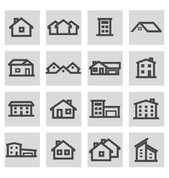 Line house icons set vector