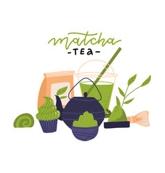 Matcha tea ceremony elements - side view japanese vector