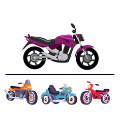 motorized bicycles collection scooter motorbikes vector image