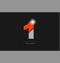 number 1 in grey orange color for logo icon design vector image