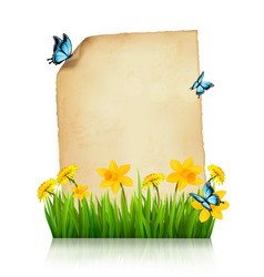 old sheet paper with spring flowers and vector image