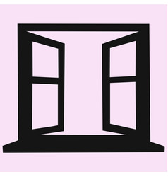 Opened blank window frame vector