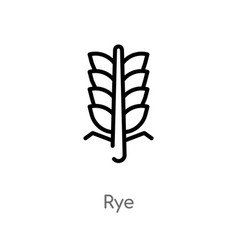 Outline rye icon isolated black simple line vector
