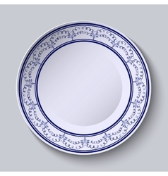 Painted plates with a blue ornament in ethnic vector image