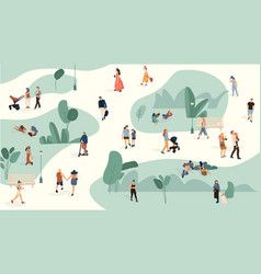 people in park trendy men and women crowd walking vector image