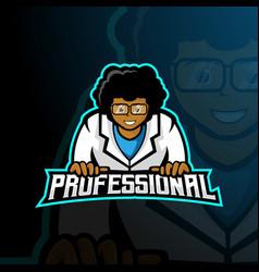 Professional man mascot logo design vector