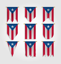 Puerto rico flag in various shapes vector