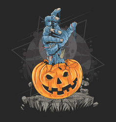 pumpkin zombie hand halloween artwork vector image