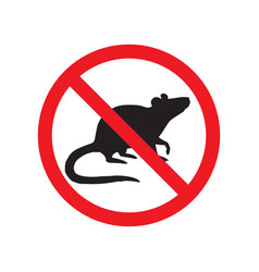 Rat mouse silhouette crossed in red circle vector