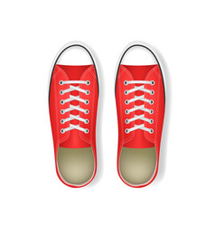 Realistic 3d detailed red sneakers pair vector