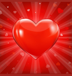 red hearts background with bokeh vector image