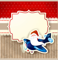 Santa claus and the airplane over red background vector