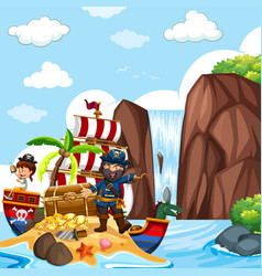 Scene with pirate and treasure chest by the vector