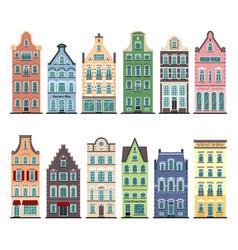 set 12 amsterdam old houses cartoon facades vector image
