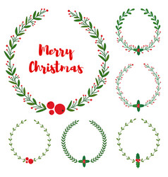 set new year christmas doodle hand drawn vector image