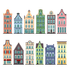 Set of 12 amsterdam old houses cartoon facades vector