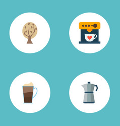 set of drink icons flat style symbols with mocha vector image