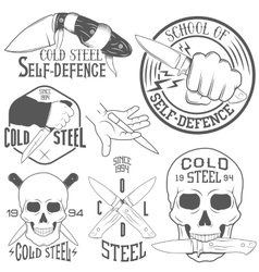 Set of emblems with human skull and knife vector
