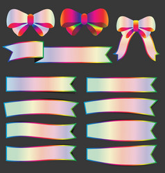 Set of spectrums color ribbon banner stickers vector