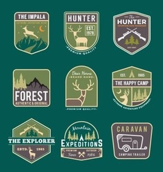 Set of trekking badge and logo vector image