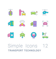 Set simple line icons transport technology vector