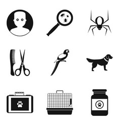 Sick animal icons set simple style vector