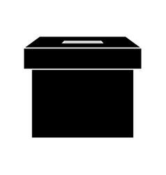Silhouette ballot box carton isolated icon vector