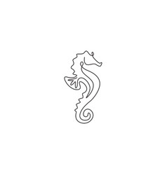single continuous line drawing sea horse vector image