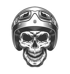 skull in moto helmet vector image