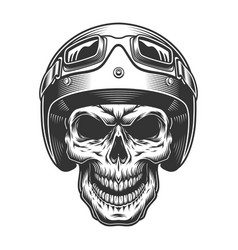 skull in the moto helmet vector image