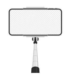 smartphone with empty screen on monopod vector image