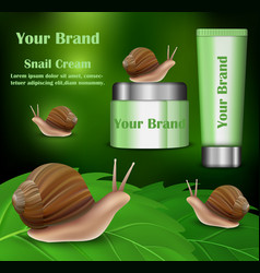 Snail cream cosmetics banner realistic style vector