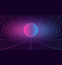 Synthwave background 80s sci-fi retro style dark vector