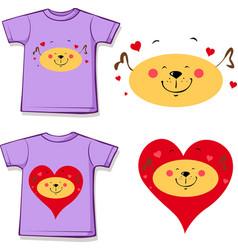 t shirt design - dog in love printed design vector image