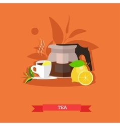Teapot tea cup lemon vector